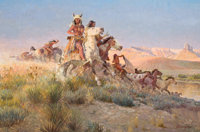 JOHN FORD CLYMER (American, 1907-1989) The Raiding Party Oil on masonite 24 x 36 inches (61.0 x 9