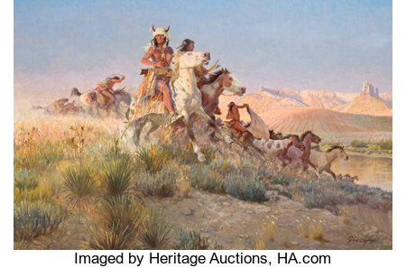 JOHN FORD CLYMER (American, 1907-1989)The Raiding PartyOil on masonite24 x 36 inches (61.0 x 91.4 cm)Signed lowe...