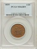 Half Cents: , 1835 1/2 C MS62 Brown PCGS. PCGS Population (79/253). NGC Census:(212/552). Mintage: 398,000. Numismedia Wsl. Price for pr...