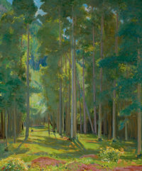 BERT GEER PHILLIPS (American, 1868-1956) Afternoon in the Aspens Oil on canvas 36 x 30 inches (91