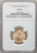 Modern Issues: , 1996-W G$5 Smithsonian Gold Five Dollar MS69 NGC. NGC Census:(439/348). PCGS Population (886/74). Mintage: 9,068. Numismed...