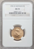 Modern Issues: , 1996-W G$5 Smithsonian Gold Five Dollar MS70 NGC. NGC Census:(341). PCGS Population (72). Mintage: 9,068. Numismedia Wsl. ...