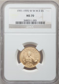 Modern Issues: , 1991-1995W G$5 World War II Gold Five Dollar MS70 NGC. NGC Census:(771). PCGS Population (149). Mintage: 23,089. Numismedi...
