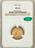 Indian Quarter Eagles, 1909 $2 1/2 MS64 NGC. CAC....