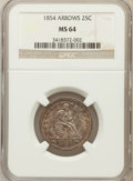 Seated Quarters: , 1854 25C Arrows MS64 NGC. NGC Census: (72/24). PCGS Population(60/21). Mintage: 12,380,000. Numismedia Wsl. Price for prob...