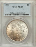 Morgan Dollars: , 1881 $1 MS65 PCGS. PCGS Population (927/83). NGC Census: (630/52).Mintage: 9,163,975. Numismedia Wsl. Price for problem fr...