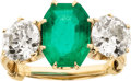 Estate Jewelry:Rings, Antique Emerald, Diamond, Gold Ring. ...