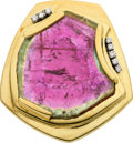 Estate Jewelry:Brooches - Pins, Watermelon Tourmaline, Diamond, Gold Pendant-Brooch, Norman leBeau....