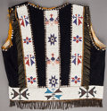 American Indian Art:Beadwork and Quillwork, AN OSAGE PICTORIAL BEADED CLOTH VEST. c. 1910 ...