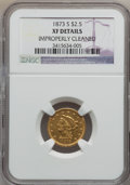 Liberty Quarter Eagles: , 1873-S $2 1/2 -- Improperly Cleaned -- NGC Details. XF. NGC Census:(17/196). PCGS Population (19/101). Mintage: 27,000. Nu...