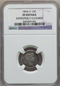 Barber Dimes: , 1894-O 10C -- Improperly Cleaned -- NGC Details. XF. NGC Census:(6/44). PCGS Population (14/65). Mintage: 720,000. Numisme...