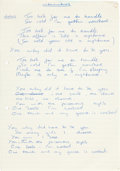 "Music Memorabilia:Documents, The Who's John Entwistle ""Alternatives"" Handwritten Lyrics. ... (Total: 5 Items)"