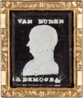 Political:Ferrotypes / Photo Badges (pre-1896), Martin Van Buren: Desirable Portrait Sulphide Brooch. ...