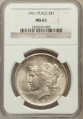 Peace Dollars: , 1921 $1 MS63 NGC. NGC Census: (2776/4561). PCGS Population(3558/5016). Mintage: 1,006,473. Numismedia Wsl. Price for probl...