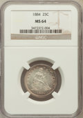 Seated Quarters: , 1884 25C MS64 NGC. NGC Census: (19/35). PCGS Population (20/43).Mintage: 8,000. Numismedia Wsl. Price for problem free NGC...