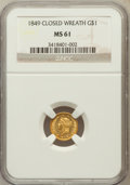 Gold Dollars: , 1849 G$1 Closed Wreath MS61 NGC. NGC Census: (61/294). PCGSPopulation (6/149). (#7503)...