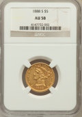 Liberty Half Eagles: , 1888-S $5 AU58 NGC. NGC Census: (105/71). PCGS Population (22/47).Mintage: 293,900. Numismedia Wsl. Price for problem free...