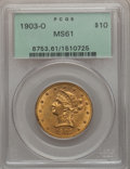 Liberty Eagles: , 1903-O $10 MS61 PCGS. PCGS Population (176/439). NGC Census:(358/371). Mintage: 112,771. Numismedia Wsl. Price for problem...