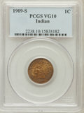 Indian Cents: , 1909-S 1C VG10 PCGS. PCGS Population (222/3014). NGC Census: (102/1825). Mintage: 309,000. Numismedia Wsl. Price for proble...