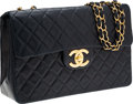 Luxury Accessories:Bags, Chanel Navy Blue Lambskin Leather Maxi Single Flap Bag with GoldHardware. ...