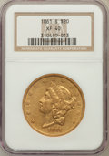 Liberty Double Eagles: , 1861-S $20 XF40 NGC. NGC Census: (70/607). PCGS Population(62/340). Mintage: 768,000. Numismedia Wsl. Price for problem fr...