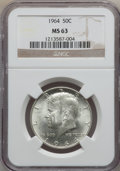 Kennedy Half Dollars, 1964 50C MS63 NGC. This set includes 1964 50C MS63 NGC,1964-D MS63NGC,2008-P 50C SMS--Obverse Damage--NGC Details UNC,1992... (Total:4 coins)
