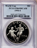 Modern Issues: , 1994-S $1 World Cup Silver Dollar PR69 Deep Cameo PCGS. PCGSPopulation (2432/90). NGC Census: (1914/94). Mintage: 576,978....