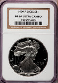 Modern Bullion Coins: , 1999-P $1 Silver Eagle PR69 Ultra Cameo NGC. NGC Census:(10562/589). PCGS Population (4764/461). Numismedia Wsl. Pricefo...