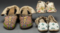 American Indian Art:Beadwork and Quillwork, THREE PAIRS OF PLAINS CHILD'S BEADED HIDE MOCCASINS . c. 1900...(Total: 3 Pair)