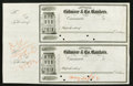 Obsoletes By State:Ohio, Cincinnati, OH- Gilmore & Co. Bankers Uncut Check Pair 18__Proofs. ...