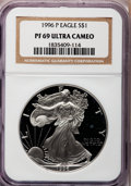 Modern Bullion Coins: , 1996-P $1 One-Ounce Silver Eagle PR69 Ultra Cameo NGC. NGC Census:(11932/589). PCGS Population (4761/513). Numismedia Wsl...