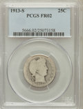 Barber Quarters: , 1913-S 25C Fair 2 PCGS. PCGS Population (28/910). NGC Census:(20/243). Mintage: 40,000. Numismedia Wsl. Price for problem ...