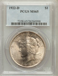 Peace Dollars: , 1922-D $1 MS65 PCGS. PCGS Population (1093/154). NGC Census:(913/239). Mintage: 15,063,000. Numismedia Wsl. Price for prob...