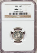 Seated Dimes: , 1886 10C MS65 Prooflike NGC. NGC Census: (84/62). PCGS Population(77/35). Mintage: 6,376,684. Numismedia Wsl. Price for pr...