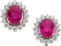 Estate Jewelry:Earrings, Ruby, Diamond, White Gold Earrings. ... (Total: 3 Items)