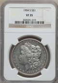 Morgan Dollars: , 1904-S $1 VF35 NGC. NGC Census: (74/1321). PCGS Population(157/2061). Mintage: 2,304,000. Numismedia Wsl. Price for proble...
