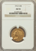Indian Half Eagles: , 1912-S $5 AU55 NGC. NGC Census: (336/753). PCGS Population(147/323). Mintage: 392,000. Numismedia Wsl. Price for problem f...