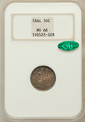 Seated Dimes: , 1884 10C MS66 NGC. CAC. NGC Census: (36/28). PCGS Population(33/22). Mintage: 3,365,505. Numismedia Wsl. Price for problem...