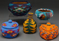 Other, FIVE PAIUTE TWINED AND BEADED BASKETRY ITEMS. c. 1940... (Total: 5 Items)