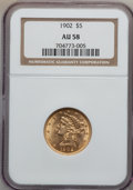 Liberty Half Eagles: , 1902 $5 AU58 NGC. NGC Census: (74/1275). PCGS Population (72/745).Mintage: 172,400. Numismedia Wsl. Price for problem free...