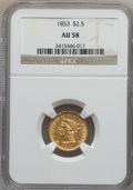Liberty Quarter Eagles: , 1853 $2 1/2 AU58 NGC. NGC Census: (365/807). PCGS Population(133/420). Mintage: 1,404,668. Numismedia Wsl. Price for probl...