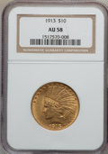 Indian Eagles: , 1913 $10 AU58 NGC. NGC Census: (789/4545). PCGS Population(756/3363). Mintage: 442,071. Numismedia Wsl. Price for problem ...
