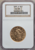 Liberty Eagles: , 1905-S $10 AU58 NGC. NGC Census: (226/150). PCGS Population(74/96). Mintage: 369,250. Numismedia Wsl. Price for problem fr...