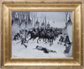 Art, Frederic Remington: An Important Original Oil Painting of CusterLeading the 7th Cavalry at the Battle of Washita. ...