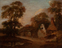 Manner of THOMAS GAINSBOROUGH (British, 1727-1788) Old Cottages Near Bath Oil on canvas 11 x 14-1