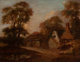 Manner of THOMAS GAINSBOROUGH (British, 1727-1788) Old Cottages Near Bath Oil on canvas 11 x 14-1/2 inches (27.9 x 36