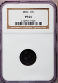 Proof Seated Dimes: , 1876 10C PR64 NGC. NGC Census: (39/26). PCGS Population (37/22).Mintage: 1,150. Numismedia Wsl. Price for problem free NGC...