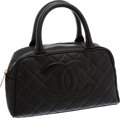 Luxury Accessories:Bags, Chanel Black Caviar Leather Bowling Bag with Gold Hardware. ...