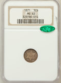 Three Cent Silver, 1871 3CS MS63 NGC. CAC....