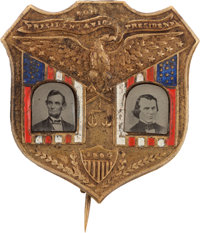 """1864 Lincoln & Johnson Jugate Badge: The """"Holy Grail"""" for collectors of Pinback Jugates"""